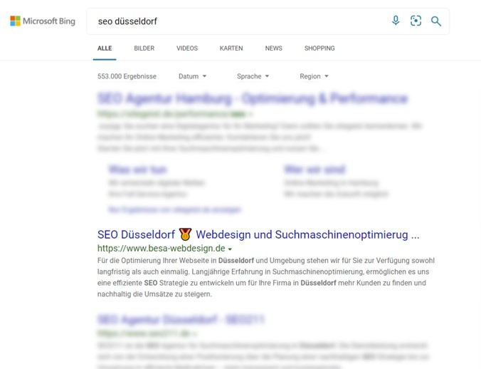 SEO Düsseldorf Microsoft Bing 1st Place